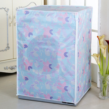 Floral Washing Machine Cover Dust-proof Bathroom Waterproof Sunscreen Washer Dryer Drum Type Washing Machine Protective Cover(China)