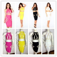 2014 New Style 6 Colours Ladies HL Bandage Dress Two Pieces Sexy Sleeveless Mini Dres  Club Night Dress