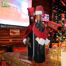 Christmas Wine Bottle Cover navidad Hat Christmas Decorations Bottle Wrap Scarf Party Decor enfeites de natal(China)