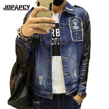 2017 Fashion Brand Patch Design Men Denim Jacket PU Leather Sleeve Splice Jeans Streetwear Causal Motorcycle Jackets MXA0334(China)