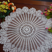 Crocheted Round Table Cloth / Handmade hook flowers cotton hollow lace / Many Uses Mats pads Cover / Classic Europe Style(China)