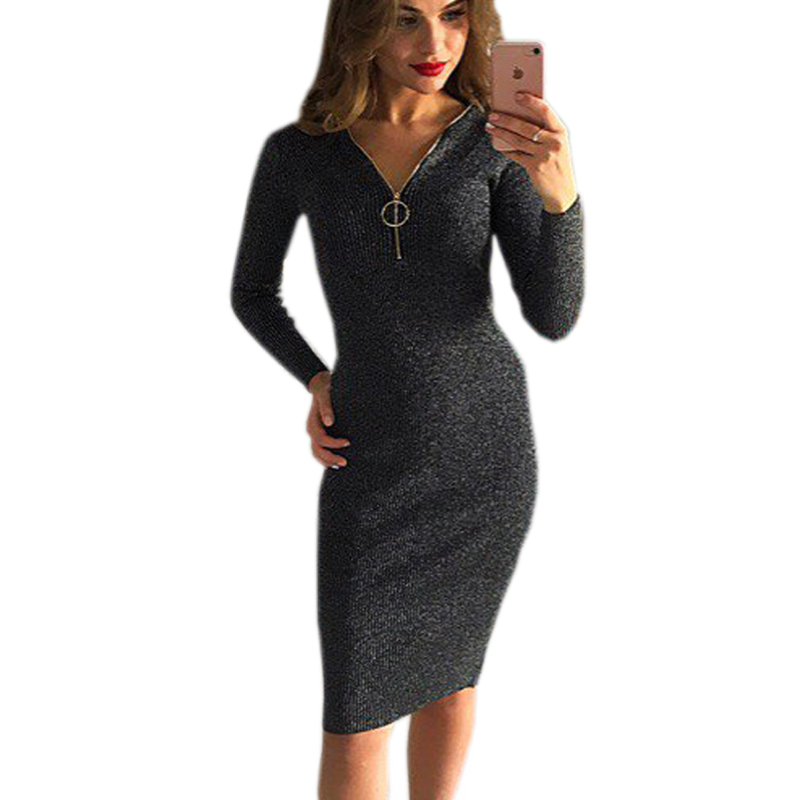 Knee-Length Sheath Dress Female Autumn Winter Bodycon Warm Dresses Zipper Sexy Women Dress Long Sleeve Midi Dress GV1036