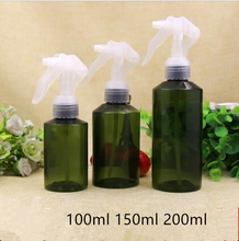 Free Shipping 100ml 150ml 200ml Empty Green Plastic Spray Packaging Bottle refillable Originales Empty Cosmetic Containers(China)