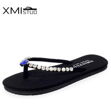 XMISTUO Women Flip Flops with Diamond Female Summer Beach Water-resistant Flat Slippers for Ladies Hand Made 9 Color 7053(China)