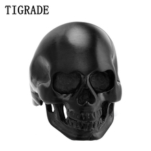 TIGRADE Cool Smooth Polished Pure Black Skull Ring Men Stainless Steel Gothic Biker Punk Rings Skeleton Fashion Jewelry Gift(China)