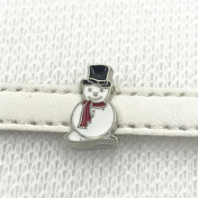 Hot selling 50pcs/lot 8mm alloy snowman slide charms Fit DIY Wristband Bracelet diy jewelry charms(China)