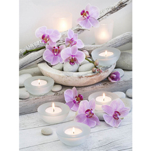 5D diy Diamond Embroidery diamond Painting Cross Stitch kit Candle Phalaenopsis Mosaic pattern arts and crafts resin drill gift