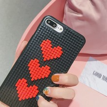 Fashion Mobile Phone Cases DIY Building Blocks Red Love Heart Shape Unique Style New Cellphone Back Cover Case for iPhone 7 Plus