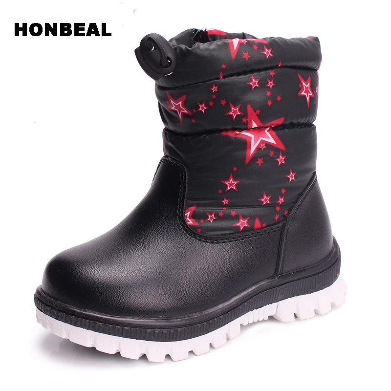 22-27 girls Boots Rubber outsole Boys red stars Snow Boots For Boys high quality plush children shoes 2 color<br>