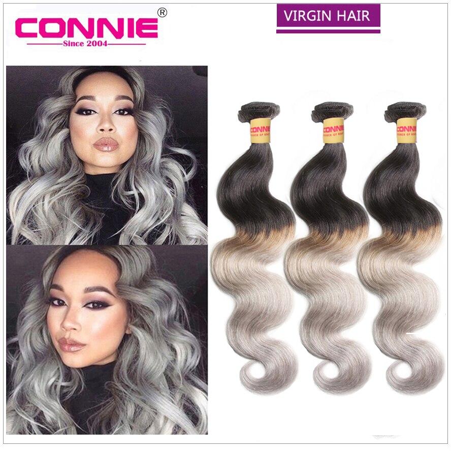 3 Bundles Ombre Brazilian Hair T1B/Grey Hair Weave Two tone Ombre Human Hair Weave 9A Brazilian Body Wave Ombre Hair Extensions<br><br>Aliexpress