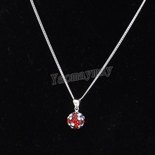 "24pcs UK Flag Crystal Disco Ball Pendant Chokers 18"" Cheap Silver Plated Link Chain Necklace For Birthday"