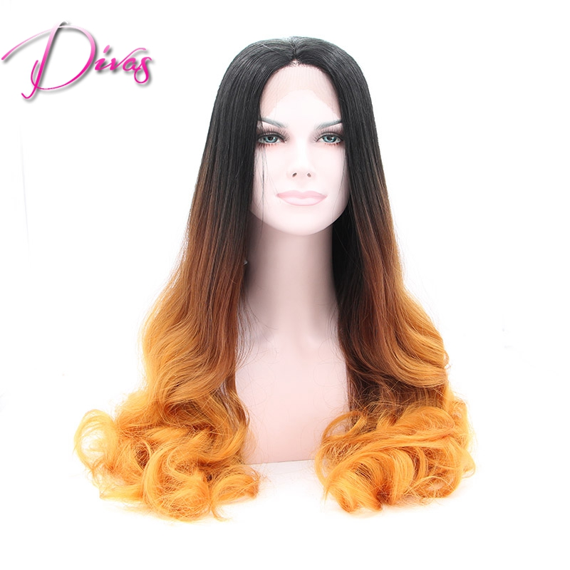 Free shipping Heat Resistant Long Wave Orange Glueless Ombre two Tone Black Orange Synthetic Lace Front Wigs<br><br>Aliexpress