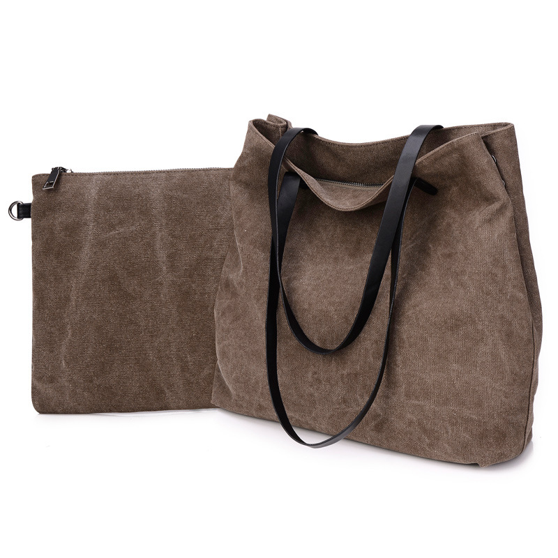 New Korean Fashion Brief Vintage Canvas Composite Bag Women Fashion Shoulder Bag Large Capacity Travel Bag Shopping Bag bolsas<br><br>Aliexpress