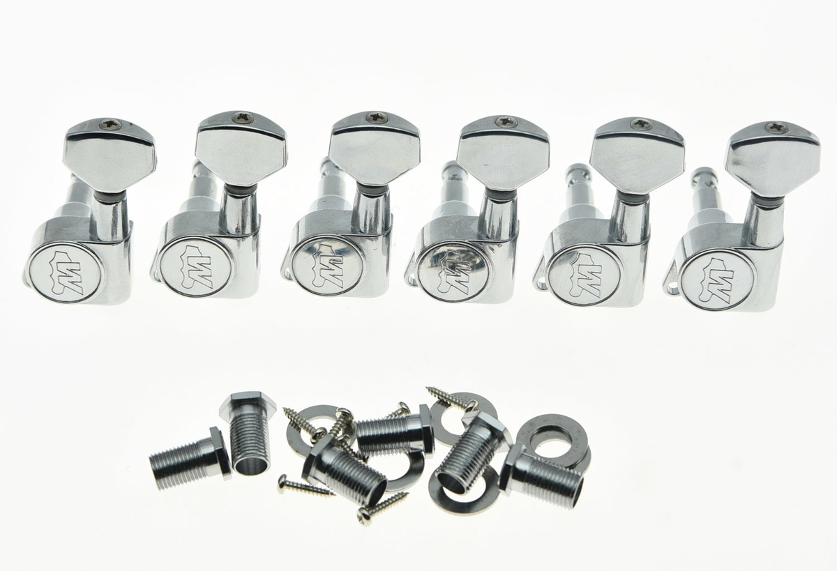 Quality Lefty Chrome Wilkinson E-Z LOK Post Guitar Tuners Tuning Keys Left Machine Heads<br>