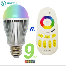 RGBW RGBWW 9W Smart LED Bulb E27 Lamp+ 2.4G RF Remote Controller 16 million color Dimmable Mi.light LED Lamp set AC85-265V