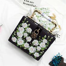 Floral Crystal Women Evening Party Totes Bags Balck White Clutches Shoulder Handbags Crossbody Bags Hardcase Ladies Box Hand Bag