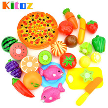 Kitoz Mini Kitchen Miniature Food Pizza Fruit Vegetable Pretend Play Cooking Toy Set For Children Girl Boy Chef Cutting(China)