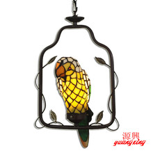 Cheap Tiffany lamp pastoral animal parrot book tenant household Pendant Lights hanging bar restaurant bedroom lighting(China)
