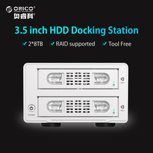ORICO Tool Free 2 Bay 3.5 Inch SATA to USB3.0&eSATA HDD External Docking Station RAID Function 2bay Aluminum HDD Case(China)