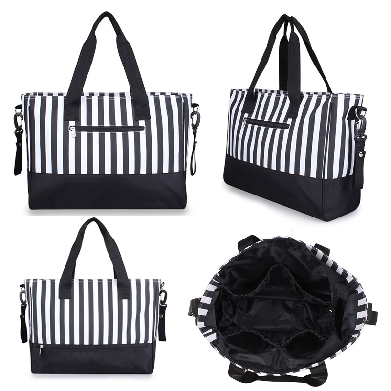 Diaper Bag Mummy Backpack Nappy Bag Large Capacity Stroller Bags Black And White Stripes Nursing Bag For Baby Care (5)