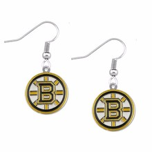 5Pairs Fashion Sports Earrings NHL Fans Earrings Enamel American Hockey Boston Bruins Charm Drop Earrings