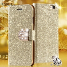 KISSCASE Cute Bling Diamond Rhinestone Luxury Leather Flip Case for iphone 5 5S 5G Card Holder Wallet Glitter Cover For Iphone5(China)