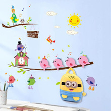 New Arrival Cartoon Pattern Home Decoration Wall Stickers + 4 Strong Stick Hooks Towel Hanger Home Wall Decors Poster E#CH