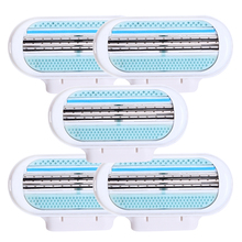 5pcs/lot Beauty Female Safety Razor Blade Shaving For Women 3 Layer Blades Shaver Razor Blades Replacement Head(China)