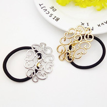 Women  Hollow Out Metal Flower Hair Ties Vintage Geometric Alloy Hair Holder Ponytails Personal Headbands Hair Accessories