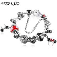 MEEKUO European Mickey Charm Bracelet for Women Luxury Brand Crystal Beads Snake Chain Bracelets Silver Color Jewelry(China)