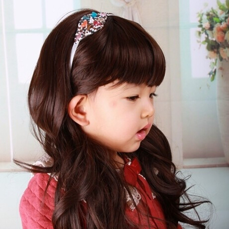 2015 Children Long wavy Wig Baby Lovely Princess Girls Kids Wig 2 Colors Black and Brown For Photographic<br><br>Aliexpress