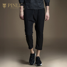 Military Real Midweight Casual Mid Skinny Pinli 2017 New Spring Men's Leisure Pants Nine Feet Slim Color B171417209(China)