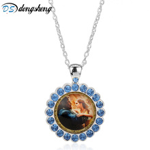New Movie Necklace Beauty and the Beast Pendant Long Necklace Women  Created Diamonds Chain Necklaces Silver Color Jewelry -30