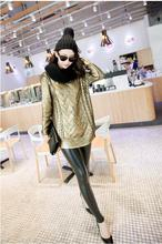 The European Women's autumn and winter long section of loose knit gilt gold sweater,shiny Beautiful(China)