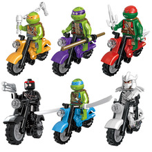 Mini Turtle Toy Building Blocks Bricks Japanese Cartoon Tortoise Vehicle Motorcycle Donatello Leonardo Compatible with lego