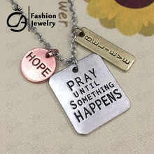 "Antique Silver Plated ""Pray until something happens,Hope,Believe"" Inspirational Word Necklace 20Pcs/lot #LN1090(China)"