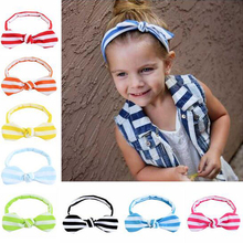 Headband Bebe Girl Children Knot Head bands Headwear Stripes Bow Tie Elastic Hairband Rabbit Ear Kids Hair Accessories(China)
