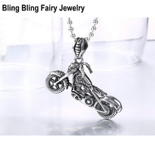 316 Stainless Steel Skull Motorcycle Pendant Necklace Retro Men's Locomotive Biker Necklace, Free Shipping