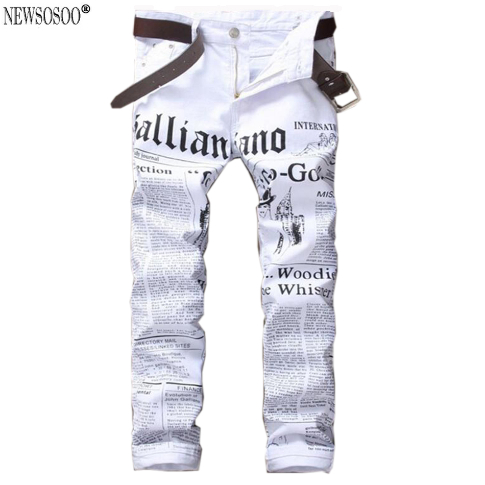 Newsosoo brand 2017 New white jeans men Fashion Printed slim straight jeans hombre Casual letter pattern stretch jeans male MJ26Одежда и ак�е��уары<br><br><br>Aliexpress