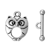 "DoreenBeads Zinc metal alloy Toggle Clasps Owl Antique Silver 20mm x15mm( 6/8"" x 5/8"") 21mm x6mm( 7/8"" x 2/8""), 4 Sets 2015 new"