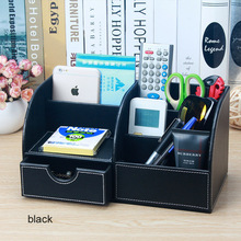 Multifunctional wooden Leather Office Desk Organizer with Drawer Pen Holder Stationery Storage Box Makeup Cosmetic Organizer 201