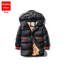 -30 Russian Kids Winter Jacket For Girls Parka Fur Hoodies Duck Down Childrens Jackets Big Girls Outerwear&Coats For Teenagers(China)