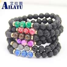 Ailatu New Design High Quality Black Lava Stone Jewelry Sea Sediment Imperial Beads Stretch Energy Yoga Gift Bracelets(China)