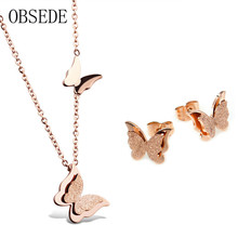 OBSEDE Fashion Butterfly Jewelry Set Rose Gold Stainless Steel Stud Earrings Statement Necklace Set for Women Wedding Gift(China)