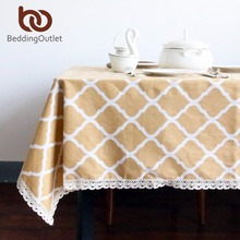 BeddingOutlet Yellow Diamond Pattern Tablecloth Cotton and Linen with Lacy Dinner Table Cloth Macrame Decoration Table Cover(China)