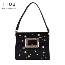 TTOU Women Rivet Velour Handbag Elegant Pleuche Bag AW Fashion Shoulder Bag Ladies Messenger Bag Bolsa Feminina(China)