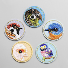 NEW 4.2CM Round Shape Iron On Clothing Patches Cute Bird Patch for Coat Jeans Jacket DIY(China)