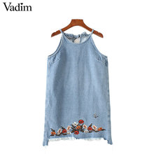 Vadim women sweet floral embroidery denim dress hem fringe summer sleeveless casual mini shift dresses vestidos QZ3022