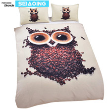 American owl bedding sets kids boys 3d painting comforter covers twin full queen king sizes bed clothes pillow cases halloween(China)
