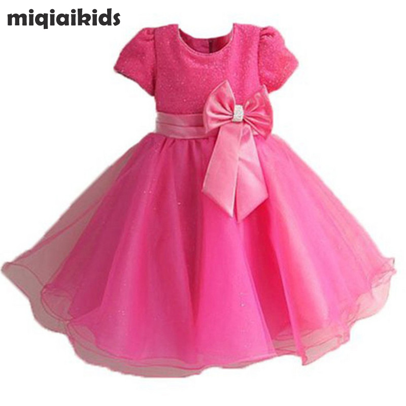 UK Seller Sale Winter Pretty Elegant Girls Kids Pearls Party Dress Age 3-9 Years